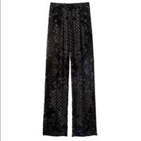Balmain For H&M Pleated Velvet Burnout Pants Size US 8 New