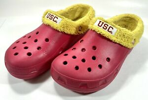 Crocs College USC TROJANS SC Red Yellow Faux Fur Clogs Size 10 Men's 12 Women's