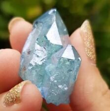 STUNNING GENUINE GOLD INFUSED AQUA AURA QUARTZ, BEAUTIFUL PIECE, HEALING CRYSTAL