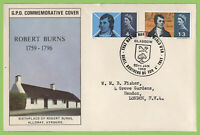 G.B. 1966 Robert Burns set on GPO First Day Cover, Glasgow