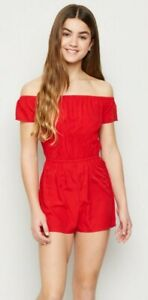 OFF THE SHOULDER PLAYSUIT age 9 girls NEW LOOK summer RED holiday BARDOT casual