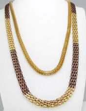 Style&Co Two-Strand Gold-Tone Brown-Tone Long MESH CHAIN Necklace SET