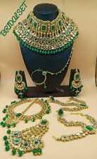 Bollywood Indian Ethic Fashion Green Pearl Kundan Bridal Wedding Necklace Set