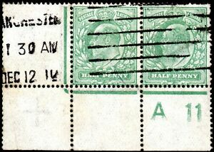 1911 Sg 279 ½d dull green Control A11 Perf V3A Good to Fine Used Machine Cancel