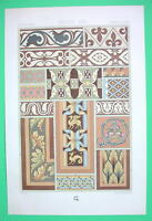 NORMAN School Medieval Paintings Ornamentation - COLOR Litho Print by Racinet