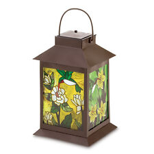 Solar-powered Floral Lantern Stained Glass Panels No Fire Hazard Wow