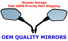 Pair of Black Angular Head Motorcycle Mirrors - Kawasaki KLR250 KLR600 KLR650