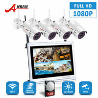 "ANRAN HD 1080P Wireless IP Security Camera System Outdoor 8CH 2MP 12""LCD NVR Kit"
