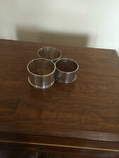 LOVELY SET OF 3 SOLID SILVER NAPKIN RINGS (1917, 1919, 1934) 72GRAMS TOTAL