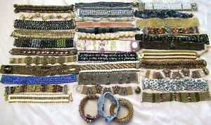 Amazing Lot of Hand Beaded Artisan Bracelets Glass Crystal & MORE!