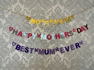Happy Mothers Day Bunting Banner Best Mum Ever No 1 Mom Mummy Decoration Party