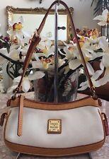 New Dooney & Bourke Cream Pebbled Leather Tan Trim Small Hobo Bag Purse $198