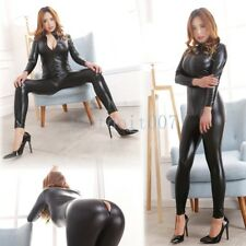 Women PVC Wet look Leather Bodysuit Open Crotch Jumpsuit Catsuit Zipper Clubwear