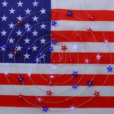 JASHIKA 4th of July Memorial Day American Flag Stars Decoration String Lights 10