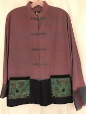 FCE Silk Kimono Jacket Sz Small Toggle-Button Front Blue Lavender Blazer