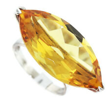 Huge Marquise Cut Simulated Topaz Sterling Silver .925 Ladies Ring Size 10