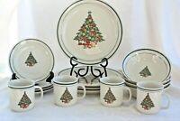 YULETIDE New Stoneware Christmas Tree 16 Pc Set 4 Piece Place Setting China VTG