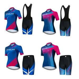 Womens Cycling Jersey Bib Shorts Set Short Sleeve Jersey Pants Bicycle Clothing
