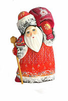 Bois sculpté Fait Main -  Le père Noel - Décoration de Noël peinte par Frolova