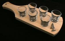 Windsurfing Set of 6 Shot Glasses with Wooden Paddle Tray Holder 395