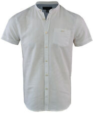 Mens Linen Short Sleeved Shirt Casual Summer Grandad Collar S-XXL