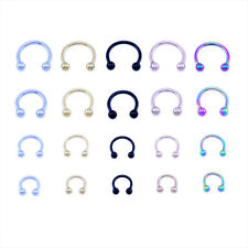 Horseshoe Bar Circular Barbell Lip Nose Septum Ear Ring Various Sizes & Colours