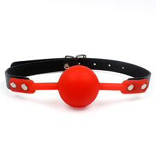 Red 42mm Soft Rubber Faux Leather Silicon Ball Gag
