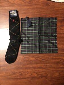 Vintage Polo Ralph Lauren Silk Pocket Square + Wool Socks Plaid Christmas Colors