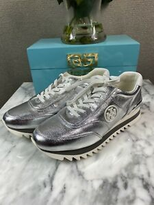 NIB Tory Burch Sawtooth Logo Sneakers Silver Metallic Size 7 8 8.5