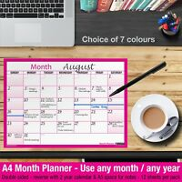 MONTH PLANNER Desk / Wall A4 Monthly Planner Double Sided ✔Home✔Office ✔HOT PINK