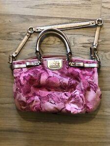 Coach 57526 Ava Tote Crossgrain Leather Handbag Bright Pink
