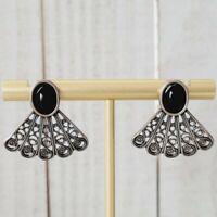 Vintage 925 Sterling Silver Filigree Inverted Fan Onyx Cabochon Stud Earrings