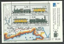 FINLAND - TRAINS Historical Railways Map M/S 1987 MNH