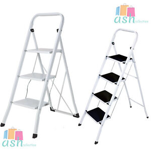 New Heavy Duty 3 4 Step Ladder Safety Non Slip Mat Tread Foldable Kitchen Strong