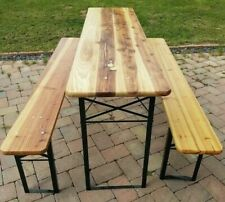 LONG WOOD/METAL FOLDING BENCH STYLE TABLE WITH 2 MATCHING SEATS