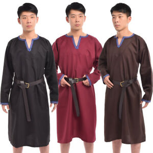 Viking Men's Shirt Norseman Saxon Larp Top Medieval Costume Vintage Tunic