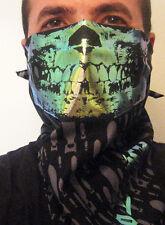 Zombie Apocalypse Holographic Skull Face Bandana Mask Black Bombs Rave dust rag