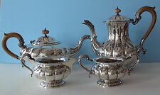 Birks sterling silver 4 pc tea coffee set George III Melon 66.72 Tr. Oz. 2079 gr