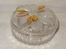 Nice Studio Nova Golden Poinsetta Clear & Frosted Glass Covered Dish- Japan