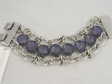 BCBG Generation Worn Silver Blue Mesh Toggle Bracelet