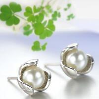 Fashion Women 925 Sterling Silver Clover Freshwater Pearl Ear Studs Earrings #UP