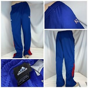"Kansas Jayhawks KU Adidas Sweatpants L Blue ClimaLite Poly 31"" Inseam YGI L0-284"