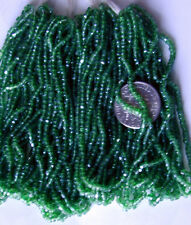 Antique Teal Blue-Green GOLD Seed Beads CZECH GLASS BEAUTIES! FOUR Mini Hanks!