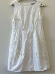 Bonpoint Girls White Embroided Dress Size 8