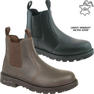 MENS DEALER CHELSEA LIGHTWEIGHT LEATHER SAFETY WORK BOOTS STEEL TOE CAP SHOES