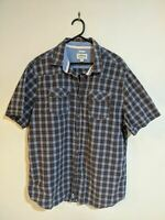 Men's Lee Cooper Shirt Size XXL 2XL Regular Fit Blue Check Short Sleeve