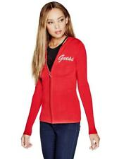Guess Sweater Women's Slim Fit Rhinestone Logo Zip Knit Hoodie Sweater S Red NWT