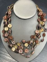 Vintage Bohemian Beaded multi Strand Mixed Color Beaded Necklace 30 Button Clasp