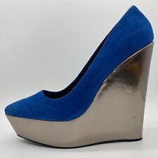Aldo Women's Plumb Blue Suede Platform Slip On Wedge Pump Size 9M