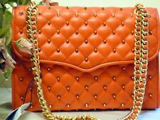 Rebecca Minkoff Diamond Quilted & Studded Shoulder Bag in Pretty Poppy Orange